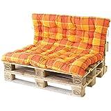 Ambient home Coussin à carreaux spéciaux pour Palette EVJE Orange 140 x 120 x 8 cm 90725