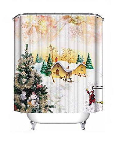 Starsglowing 180x180cm Tende da doccia Tenda per Doccia Tenda Doccia Anti-muffa impermeabile + 12 anelli per tende doccia per vasca da bagno (Bella Natale) - Natale Tenda Della Doccia