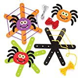 Baker Ross Kits para Tejer Telas de araña Decorativas (Pack de 5), Ideales para Manualidades y Decoraciones Infantiles de Halloween