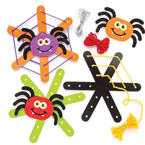 """Baker Ross Bastelset Anhänger """"gewebtes Spinnennetz"""" für Kinder – perfekt für Bastelarbeiten und Dekorationen zu Halloween (5 Stück)"""