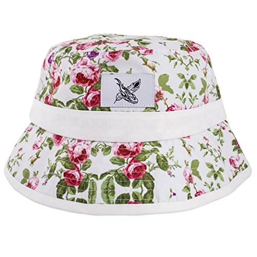 Phoenix Blossom Bucket Hat Unisex Sonnenhut Fischerhut Weiß mit Blumenmuster