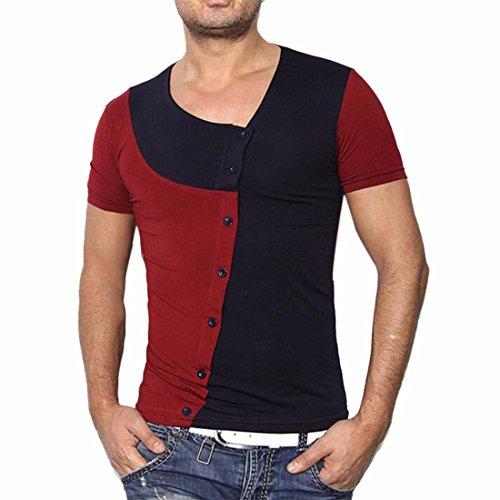 QIYUN.Z Männer Arbeiten Unregelmäßige Patchworkknopf-Kurzschlusshülse T-Shirts Um Schwarz