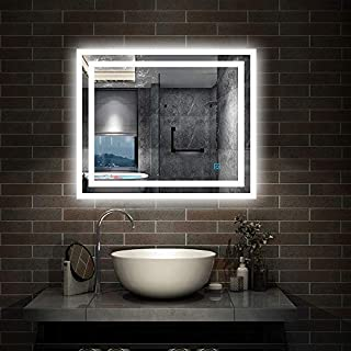 Aica 800 x 600 mm Illuminated LED Bathroom Mirror With Light Vanity Light Touch Sensor + Demister Bathroom Mirrors LED Mirror