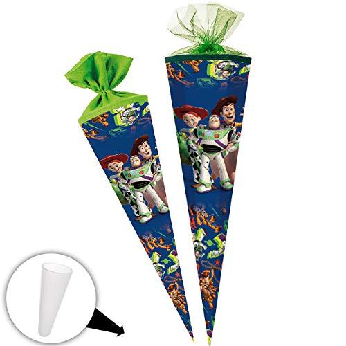 alles-meine.de GmbH Schultüte - Toy Story - 85 cm - 6 eckig - Tüllabschluß - Zuckertüte - mit / ohne Kunststoff Spitze - Nestler - Jungen Mädchen - Disney Cowboy Sheriff Woody An..