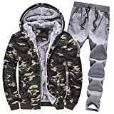 Riou Herren Strickjacke Cardigan Beiläufige DünneStrickpullover mit Kapuze Kapuzenpullover Pullover Männer Hoodie Winter warme Fleece Zipper Sweater Jacke Outwear Mantel (M, Armeegrün Set)