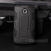 Motorola Google Nexus 6 Carcasa, Cocomii® [HEAVY DUTY] Nexus 6 Robot Case **NUEVO** [ULTRA FUTURO ARMOR] Premium Funda Con Clip Para Cinturón Pata De Cabra Kickstand Bumper Case [DEFENSOR MILITAR] De Todo El Cuerpo Híbrido Doble Capa Resistente Cubierta Protectora Cover Bumper Case [COCOMII GARANTÍA] ::: La Mejor Protección Frente A Caídas Y Las Repercusiones De Su Motorola Google Nexus 6, Nexus X ::: ★★★★★ (Black/Black)