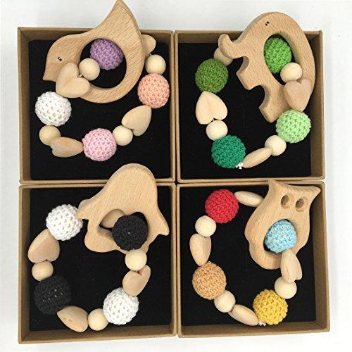 coskiss-4pcs-coeur-holder-crochet-en-bois-baby-bird-elephant-penguin-owl-tortoise-teething-douche-ch