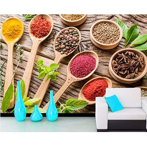 Lsfhb Gewürz Löffel Lebensmittel Foto Gewürz 3D Tapete Wohnzimmer Sofa Tv Wand Küche Papiere Wohnkultur Restaurant Bar-120X100Cm