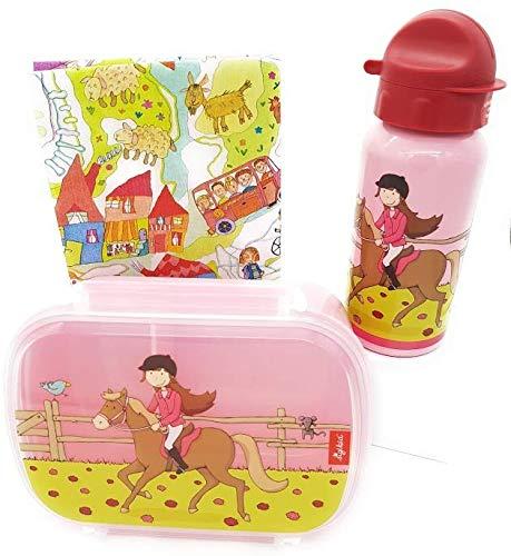 Sigikid Brotdose und Trinkflasche Pferd Pony Sue Geschenkset für Kindergartenkinder oder ABC Schützen I inkl.Geschenkverpackung
