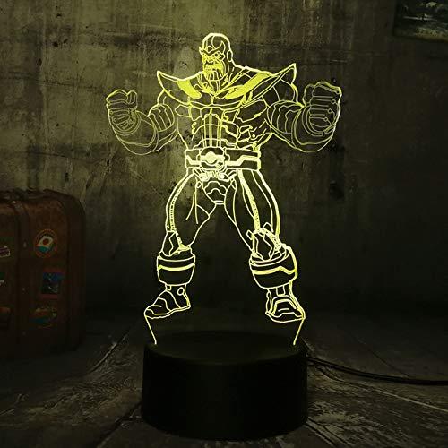 Veilleuse 3D Marvel The Avengers Grand méchant Thanos 3D LED RGB 7 changement de couleur nuit lumière bébé sommeil lampe Home Decor garçon enfant cadeau de Noël