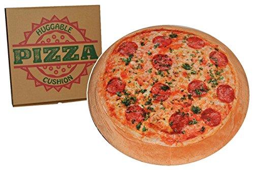 Kissen als Pizza 42 cm * 42 cm - Kuschelkissen / mit Pizzaschachtel - Pizzakissen - groß sehr weich für Kinder + Erwachsene - Schmusekissen Italiener Pizzeria