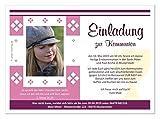 Kommunionseinladungskarten für Mädchen mit Spruch, schön modern, mit Foto und Wunschtext, 30 Karten, Maße 17 x 12 cm