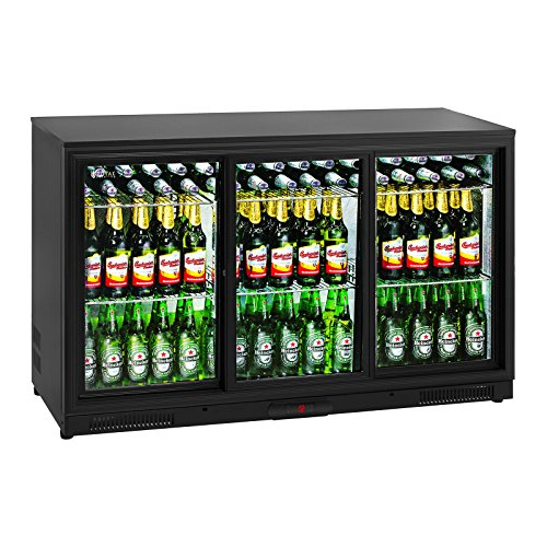 Royal Catering RCGK-318C Getränkekühlschrank Flaschenkühlschrank mit Glastür (323 L, 2–10 °C, abschließbare Schiebetüren, Doppelglas, LED Beleuchtung, Schwarz) (2 Schiebetüren Mit Kühlschrank)