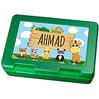 Preisvergleich für Brotdose mit Namen Ahmad - Motiv Zoo, Lunchbox mit Namen, Frühstücksdose Kunststoff lebensmittelecht