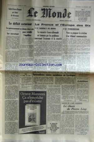 Sommets De La Litterature Espagnole - MONDE (LE) [No 11736] du 22/10/1982 -