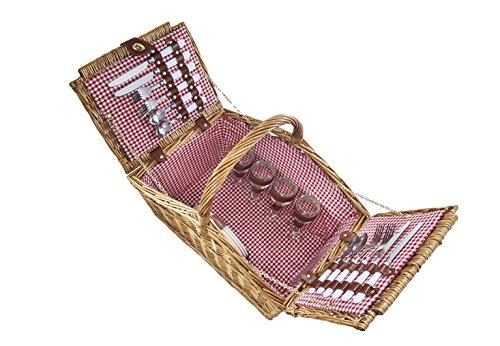 Kobolo Picknickkorb Picknickkoffer mit Zubehör für 4 Personen