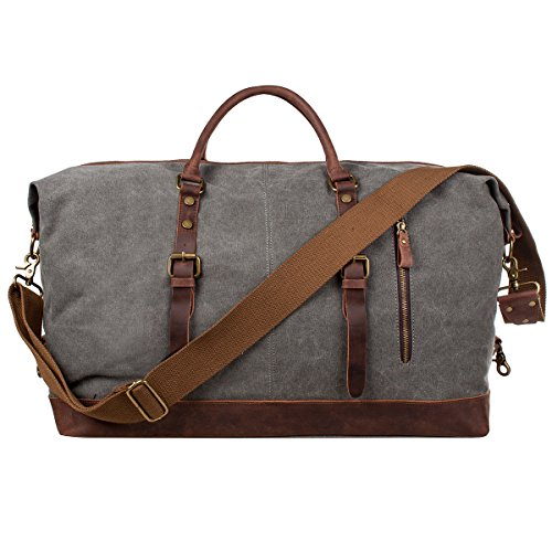 S-ZONE Reisetasche Größere Version Vintage Canvas Leder Trim Unisex Handgepäck Weekender Tadche Sporttasche für Reise am Wochenend Urlaub