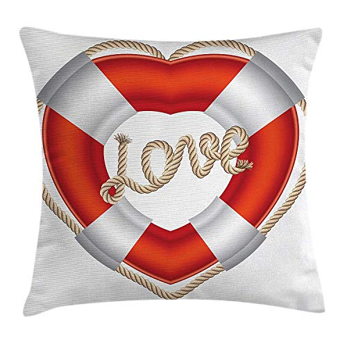 Buoy Decor Throw Pillow Cushion Cover, Heart Shaped Life Belt Valentine Love Affection Honeymoon Romantic Art, Decorative Square Accent Pillow Case, 18 X 18 inches, Orange and White - Cotton Web Belt
