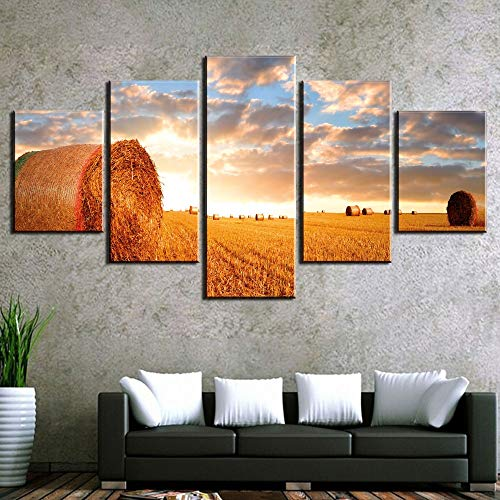 QIANG 5 Stück HD Print Malerei Landschaft Landwirtschaft Felder Für Moderne Dekorative Schlafzimmer Wohnzimmer Home Wand Kunst Dekor gerahmte- (Landwirtschaft Gerahmte Kunst)