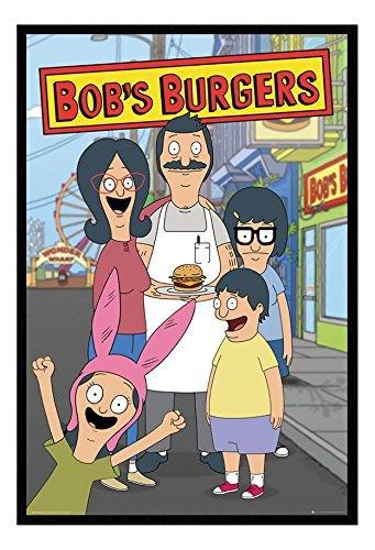 Bob Burgers Famiglia Poster Magnetico Bacheca Cornice Nera - 96.5 x 66 cms (Approx 38 x 26 pollici)
