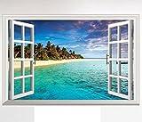 HALLOBO XXL Wandaufkleber Fenster Mittelmeer Meer Strand Urlaub Wandsticker Bild Wantattoo Wall Sticker Wohnzimmer Schlafzimmer Deko Versand aus Deutschland