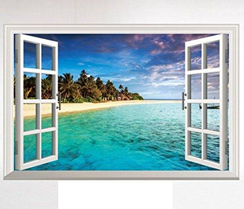 Meer Fenster (HALLOBO® XXL Wandaufkleber Fenster Mittelmeer Meer Strand Urlaub Wandsticker Bild Wantattoo Wall Sticker Wohnzimmer Schlafzimmer Deko Versand aus Deutschland)