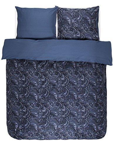Essenza Satin-Bettwäsche Mirre, Farbe Blue 135x200cm+80x80 / 100% Baumwoll-Bettwäsche mit Reißverschluss / hochwertige Bezüge mit tollem Design - Paisley-satin-kissenbezug