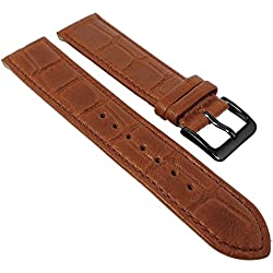 Minott Crocodile Replacement Watch Strap/Black Natural Leather with Crocodile Look Brown With Seam 30471, Width: 22 mm, Buckle