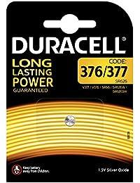 Pile oxyde d'argent Duracell spéciale 376/377 - 1,55V, pack de 1 (SR66 / SR626 / V377 / V376 / SR626W / SR626SW) conçue pour une utilisation dans les montres, calculatrices et dispositifs médicaux