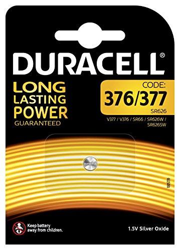 Pile oxyde d'argent Duracell spéciale 376/377 - 1,55 V, pack de 1 (SR66 / SR626 / V377 / V376 / SR626W / SR626SW) conçue pour une utilisation dans les montres, calculatrices et dispositifs médicaux