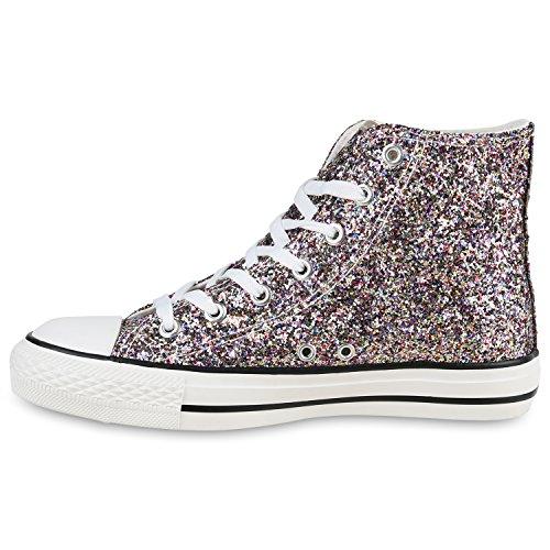 Damen Schuhe Sneaker Turnschuh High Top Mehrfarbig