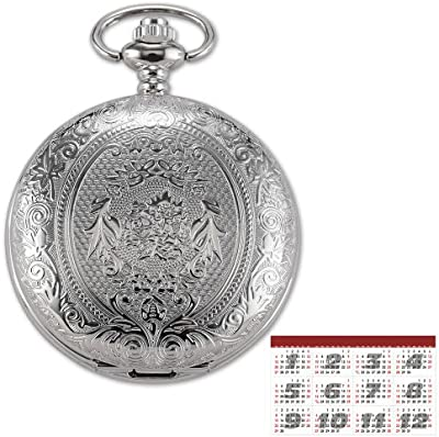 AMPM24 WPK093 Reloj de Bolsillo de Cuarzo, Caja Plateada, con Dibujo de Flores