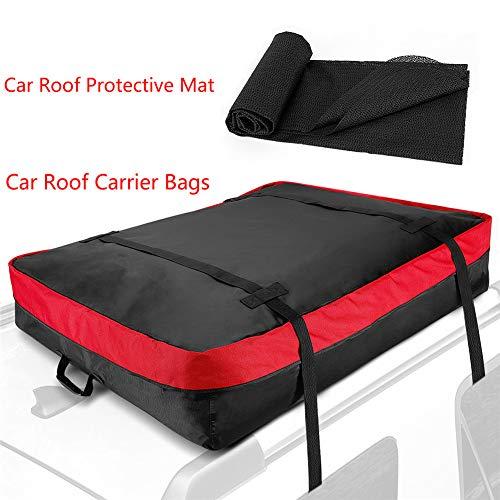 Sac de transporteur de toit sur le toit - 10 pieds cubes - Usage intensif et imperméable Porte-bagages supérieur pour stockage supplémentaire sur le toit de voiture - Sac de toit et carpette inclus
