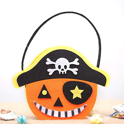 Ya1&Ya Halloween-Dekorationen_Neue Halloween-Dekorationen Cartoon-Tote Taschen Geisterfestival Kinder Candy Bag Szene Dekoration Cartoon Tote Bag Pirate Hat Pumpkin
