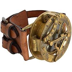 "Reloj de Sol Brazalete Gusti Cuero studio ""Dennis"" Steampunk Pulsera de Cuero de Búfalo Manilla Accesorio Moda Retro Unisex 2A22-24-10"