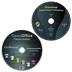 Universal Treiber-Meister CD/DVD für Windows 8 / 7 / Vista / XP (32 & 64 Bit) alle (PC & Laptop) Modelle + OpenOffice Premium Edition (2 DVD Spar-Set)