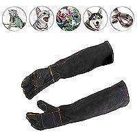 Manches longues gants de protection pour animaux Couleur noire Gants de manipulation des animaux de compagnie Protégez-vous des morsures de cuir Chien Chat Éraflures Gants de manipulation des oiseaux
