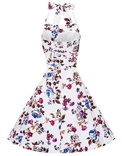 Zarlena, Rockabilly, Vestito vintage con fantasia a pois, con allacciatura al collo weiß/weinrotes Floralmuster