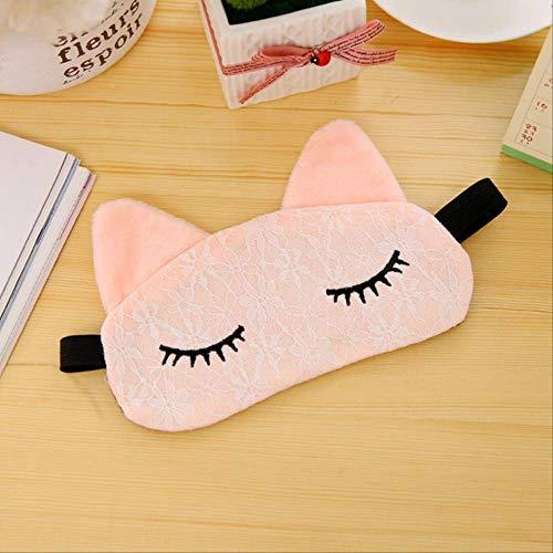 Augenmaske für schlafende Kinder,Cartoon Lace Cat Eyeshade Schlafmaske,Health Care Travel Schlaf Augenschutz,für Männer,Frauen und Kinder Masken Pink