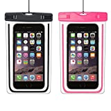 StillCool IPX8 Waterproof Case,Durable Underwater Dry Bag 2 pack, Touch Responsive Transparent Windows,Watertight Sealed System for iPhone 6s/6s plus/5s/SE and Other Smartphone for Boating/Hiking(black+pink)
