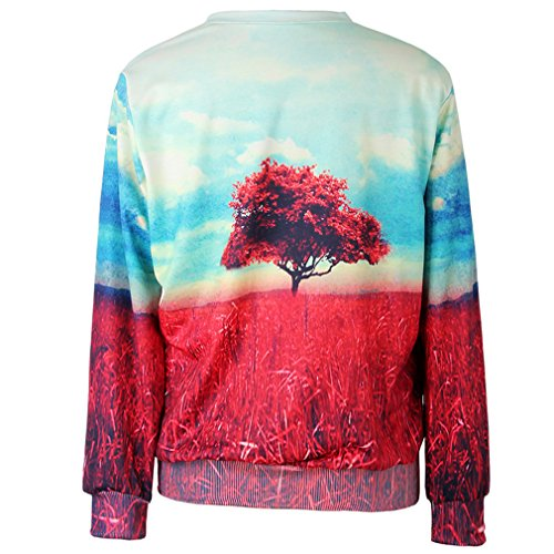 THENICE Women'Pullover Sweatershirts Digital Print - Red Tree leaves
