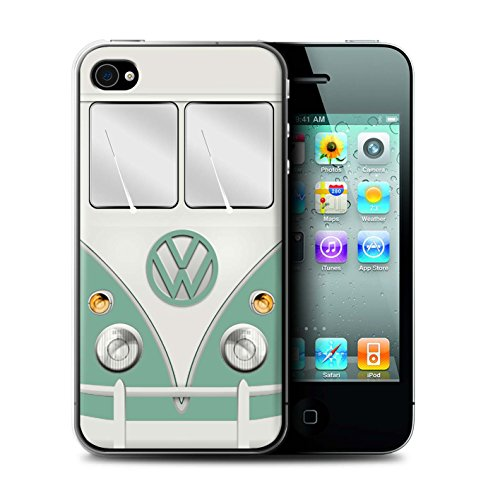Stuff4 Hülle / Case für Apple iPhone 4/4S / Fjord Blau Muster / Retro T1 Wohnmobil Bus Kollektion Türkisgrün