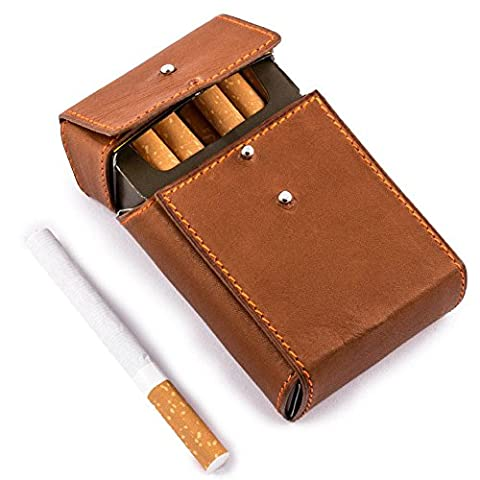 "Maroquinerie France - Etui luxe porte paquets de cigarettes taille standard cuir veau marron barenia couture orange ""Made in France"""