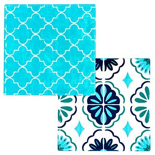 BOHORIA® Premium Design Keramik Topfuntersetzer 2er Set- Dekorative Untersetzer für Vasen, Töpfe, Karaffen und Flaschen auf ihrem Esstisch aus Holz, Glas oder Stein (rund | 18cm) (Moroccan Tiles)