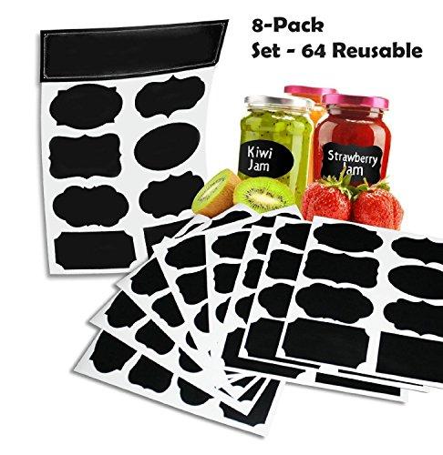 64-reutilisables-reusable-8-fiche-pack-premium-quality-noir-decoratif-adhesif-stickers-pantry-storag