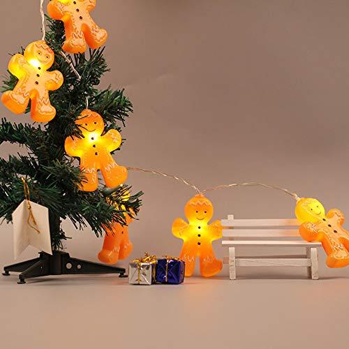 daJJ 1.2/2.5M 10/20LED Deko Lichterkette,Weihnachten Dekoration Gingerbread Cartoon Bösewicht Modellieren Lichterkette für Bar, Party, Zimmer, Garten, Balkon, Weihnachten, Halloween, Hochzeit (B(2.5M/20LED)) ()