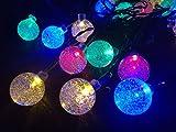Irealist Solar-Lichterkette für draußen, 30LEDs, 6 Meter lang, Kristallkugeln, Weihnachtsdekoration, Beleuchtung für drinnen, Garten, Zuhause, Terrasse, Party, Urlaub