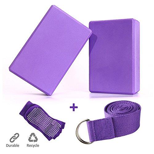TIME4DEALS 2er-Set Yoga Blöcke/Yogablock, 1 Stück Yogagurt mit 1 Paar Yogasocken für Rücken und Blockaden Regeneration Training Dehnübungen...