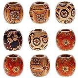 Juanya - Perline da 12 mm, miste, verniciate, cilindriche, in legno, per gioielli fai da te, accessori per capelli, confezione all'ingrosso, 100 pezzi, Multicolor, 12 mm