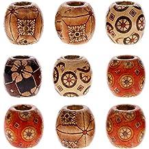 juanya al por mayor 100piezas 12mm mezclado pintado tambor madera Spacer Beads abalorios de madera para DIY Jewelry Making accesorios para el pelo, 12 mm